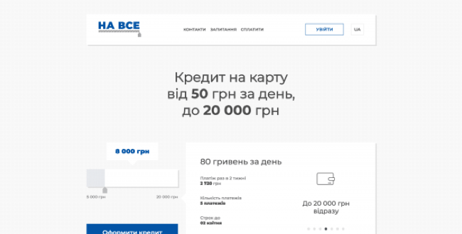 НаВсе - Кредит на карту до 20 000 грн